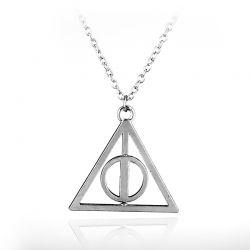 Colar Pingente Harry Potter Relíquias Da Morte somente o Prata