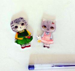 KIT  Mini imãs para fotos Casal de Gatos  Acrilico